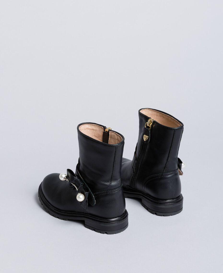 Bottines en cuir avec perles Noir Enfant HA86AC-03