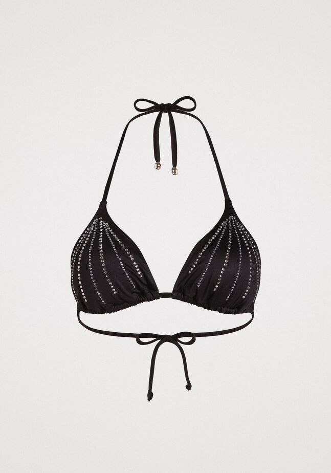 Triangle bikini top with rhinestones