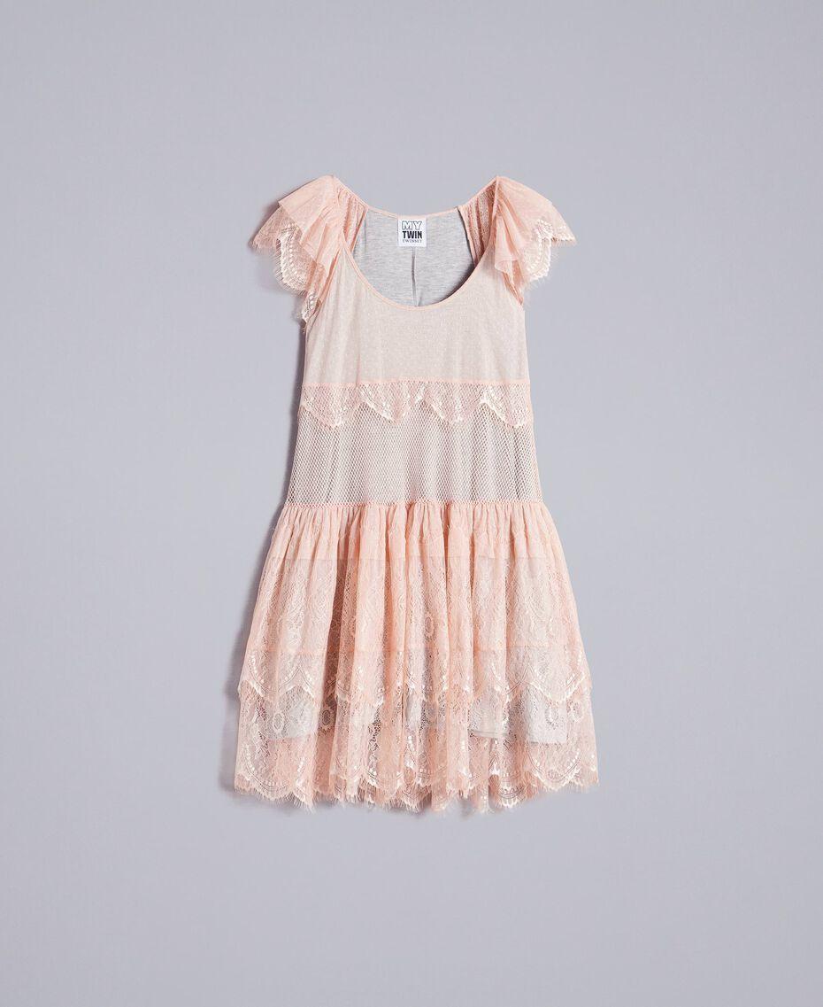 "Mesh, lace and plumetis dress Bicolour ""Nude"" Pink / Light Grey Melange Woman JA82HA-0S"