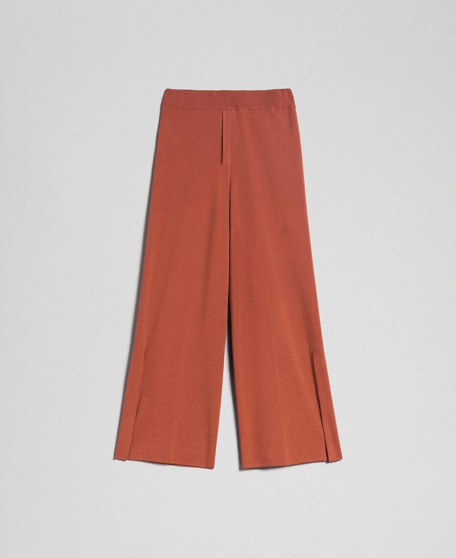 """Pantaloni a palazzo in maglia Marrone """"Chicness"""" Donna 192LI3NFF-0S"""