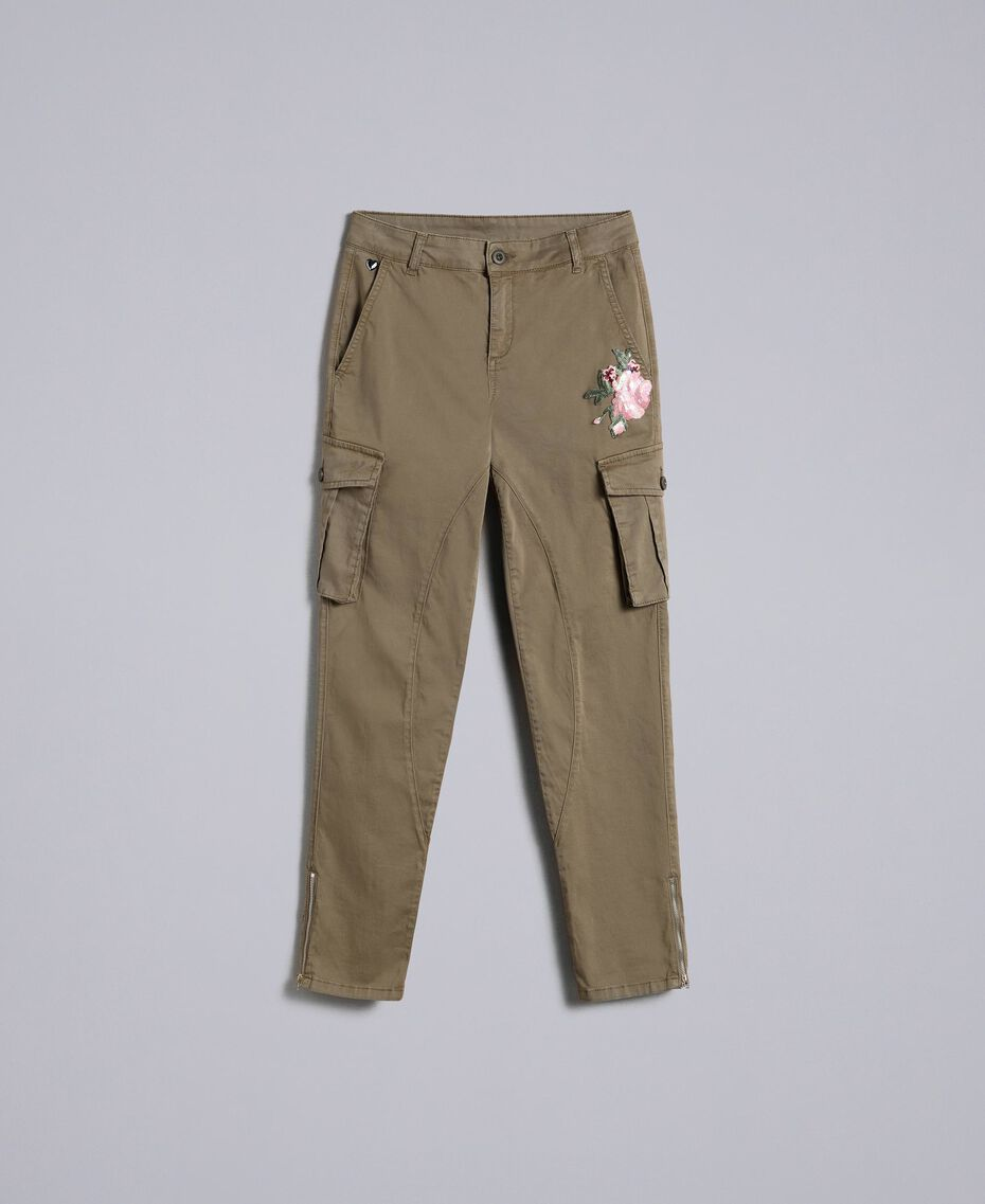 Pantaloni combat slim in cotone Verde Alpino Donna JA82ED-0S