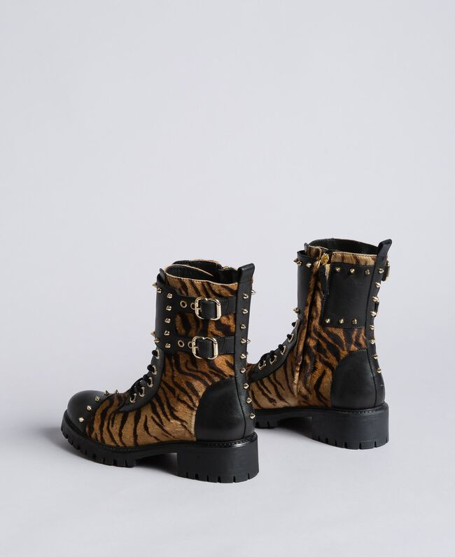 Leather combat boots with animal print inserts Tiger Print Woman CA8TEJ-04