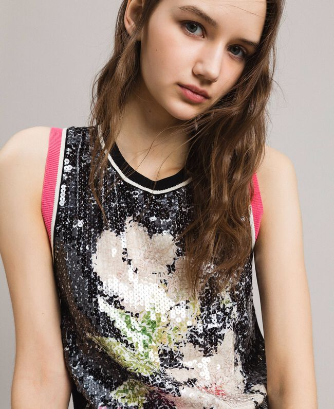 Top with sequins and contrasting trims Multicolour Black / Black Flowers Print Woman 191MT3111-04