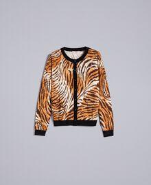Printed wool mandarin collar top Plain Tiger Print Woman TA83DU-0S