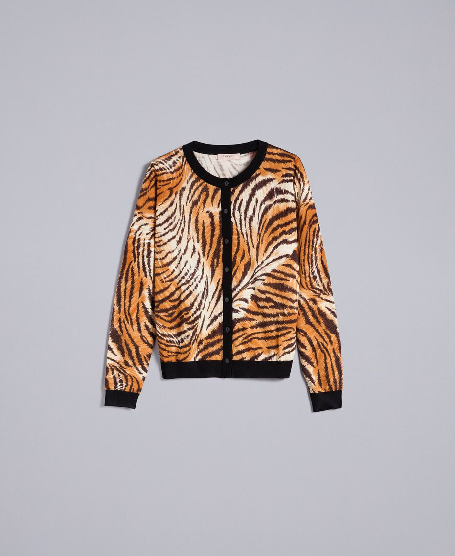 "Jacke aus Wolle mit Print Print ""Tiger"" Frau TA83DU-0S"