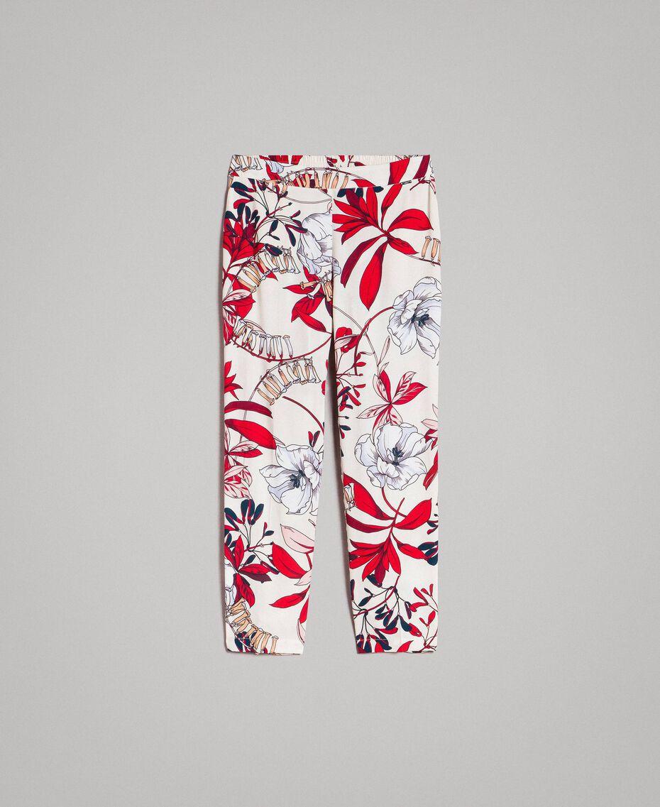 Pantaloni in crêpe con stampa a fiori Stampa Esotica Ecrù Donna 191ST2231-0S