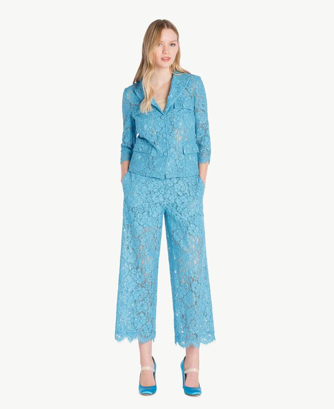 Hose aus Spitze in Croppedlänge Orientblau Frau PS82XC-05