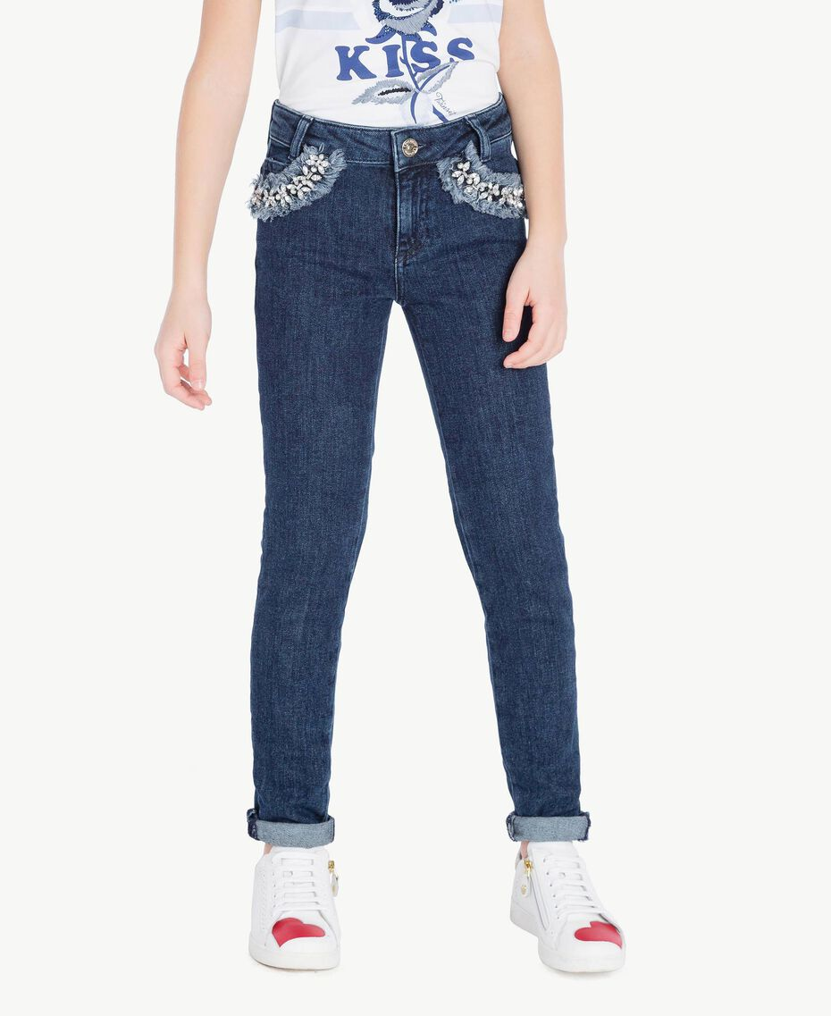 "Embroidered skinny jeans ""Mid Denim"" Blue Child GS82W1-02"