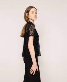 Lace blouse with flounce Black Woman 201ST2150-03