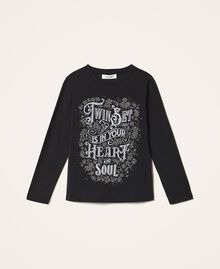 T-shirt with graphic pattern print Two-tone Black / Gothic Print Child 202GJ2354-0S