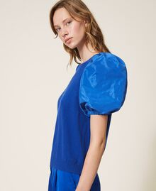 Pullover aus Wollmischung mit Taftärmeln Dunkles Kornblumenblau Frau 202TP3250-02