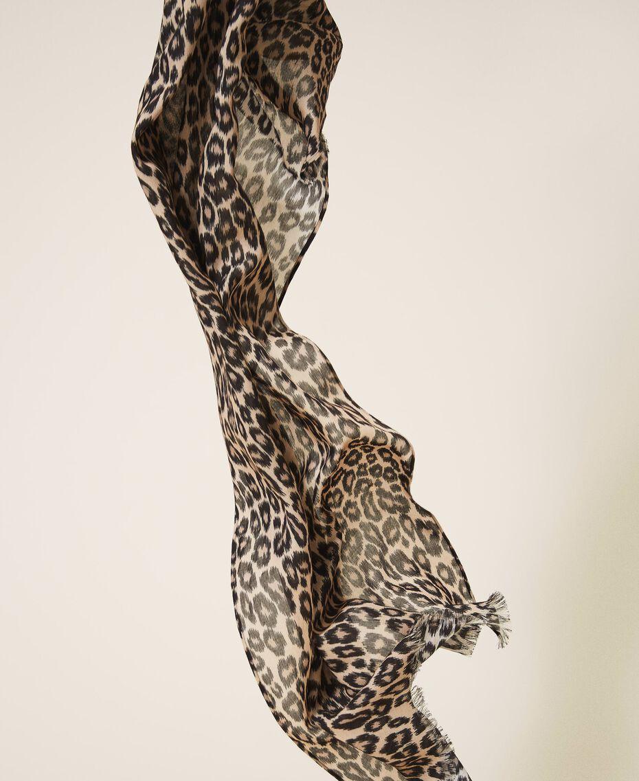 Schal mit Animalprint Animalprint Walnuss / Tabak Frau 202TO510C-02
