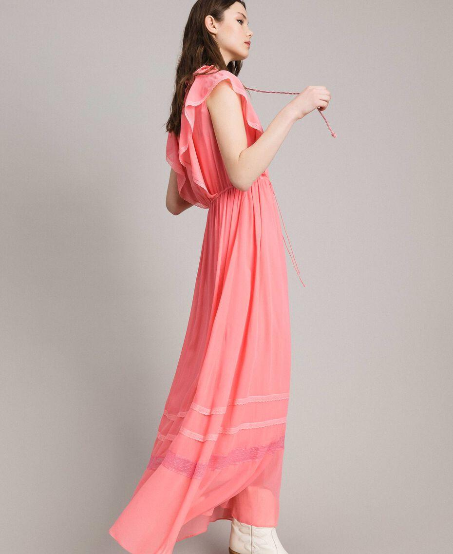 """Robe longue en georgette et dentelle Rose """"Églantine"""" Femme 191TP2370-02"""