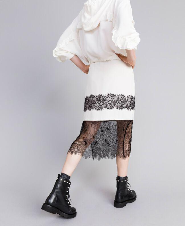 Falda midi de seda White Nieve Mujer PA82EP-01