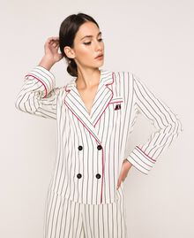Camicia in crêpe de Chine a righe Rigato Vaniglia / Nero Donna 201MP2100-01