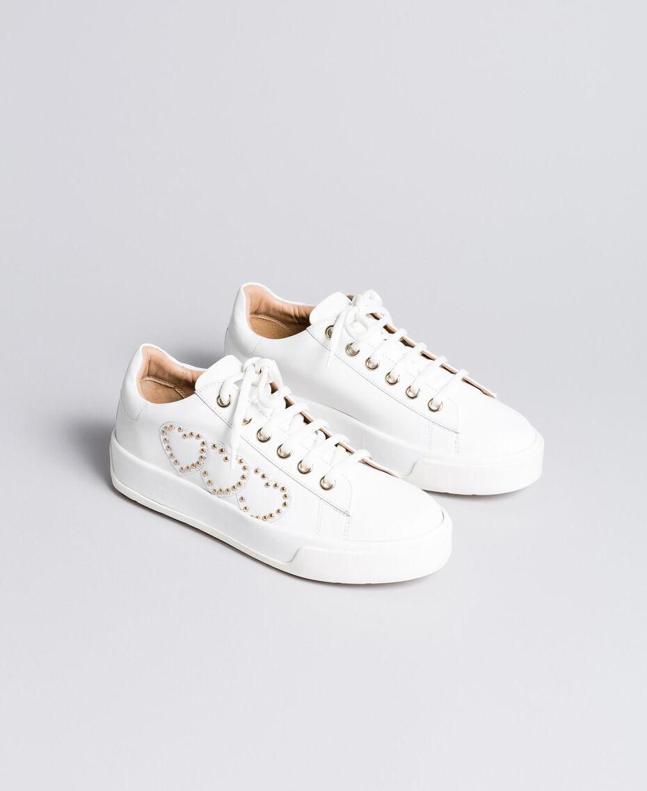 Sneakers aus Leder mit Herzen Weiß Frau CA8PAQ-02