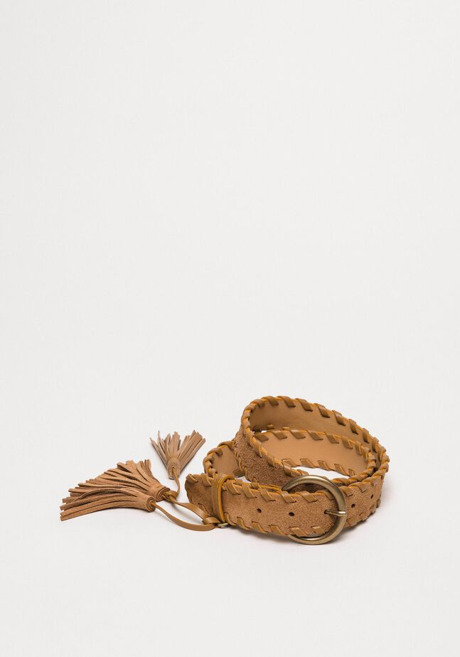 Suede belt with tassels