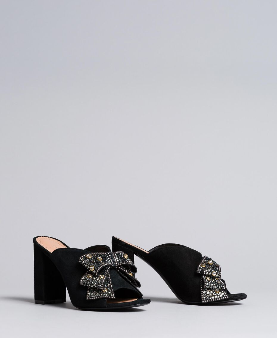 Suede mules with bow Black Woman CA8PP3-02