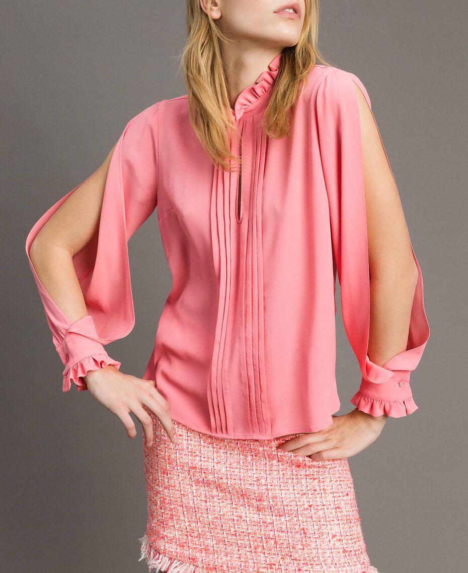 """Rüschen-Bluse aus Seidenmischung """"Wild Rose"""" Pink Frau 191TP2135-02"""