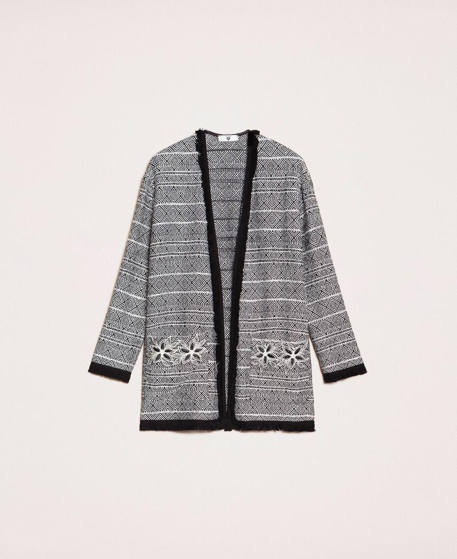 Blouson long en tweed avec broderie Noir Femme 201LB23BB-0S