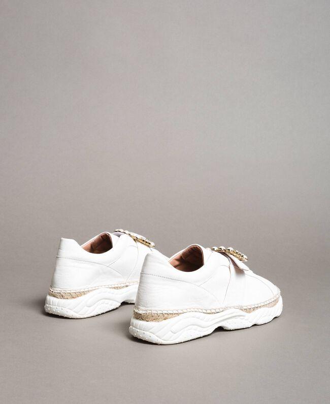 Leder-Sneakers mit Schnalle Weiß Frau 191TCT05C-04