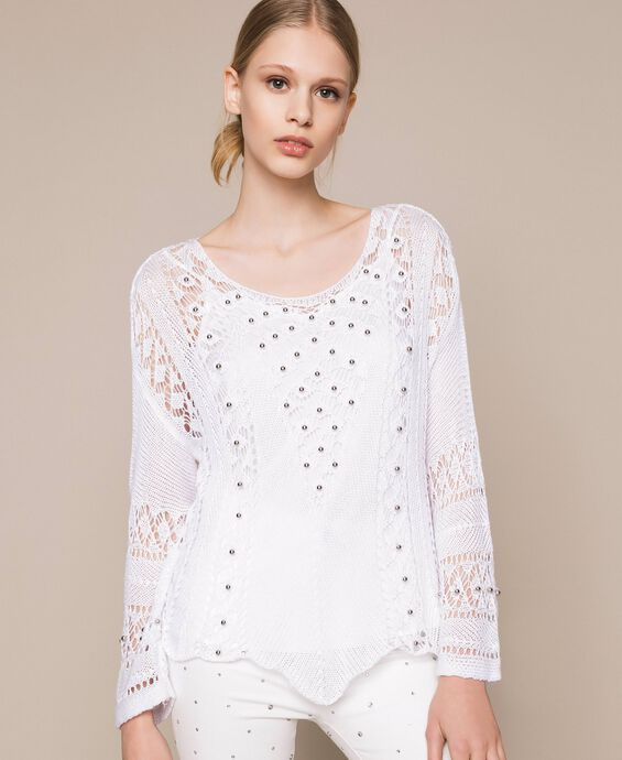 Openwork jumper with pearls