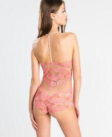 """Body aus zweifarbiger Spitze Zweifarbig Royal Pink / """"Amber Dust""""-Braun Frau IA8A00-03"""
