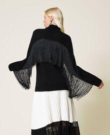 Maglia dolcevita in misto lana con frange Nero Donna 212TP3290-01