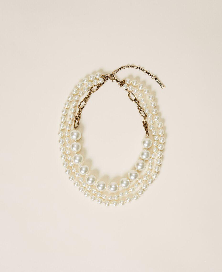 Halsnahe Kette mit Perlen Weiß Pergament Frau 202TO5049-02