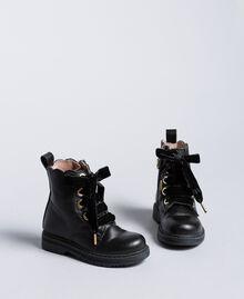 Stiefelette aus Leder mit Feston Schwarz Kind HA86CC-02