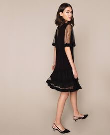 Crêpe de Chine dress with plumetis tulle Black Woman 201TP2371-02