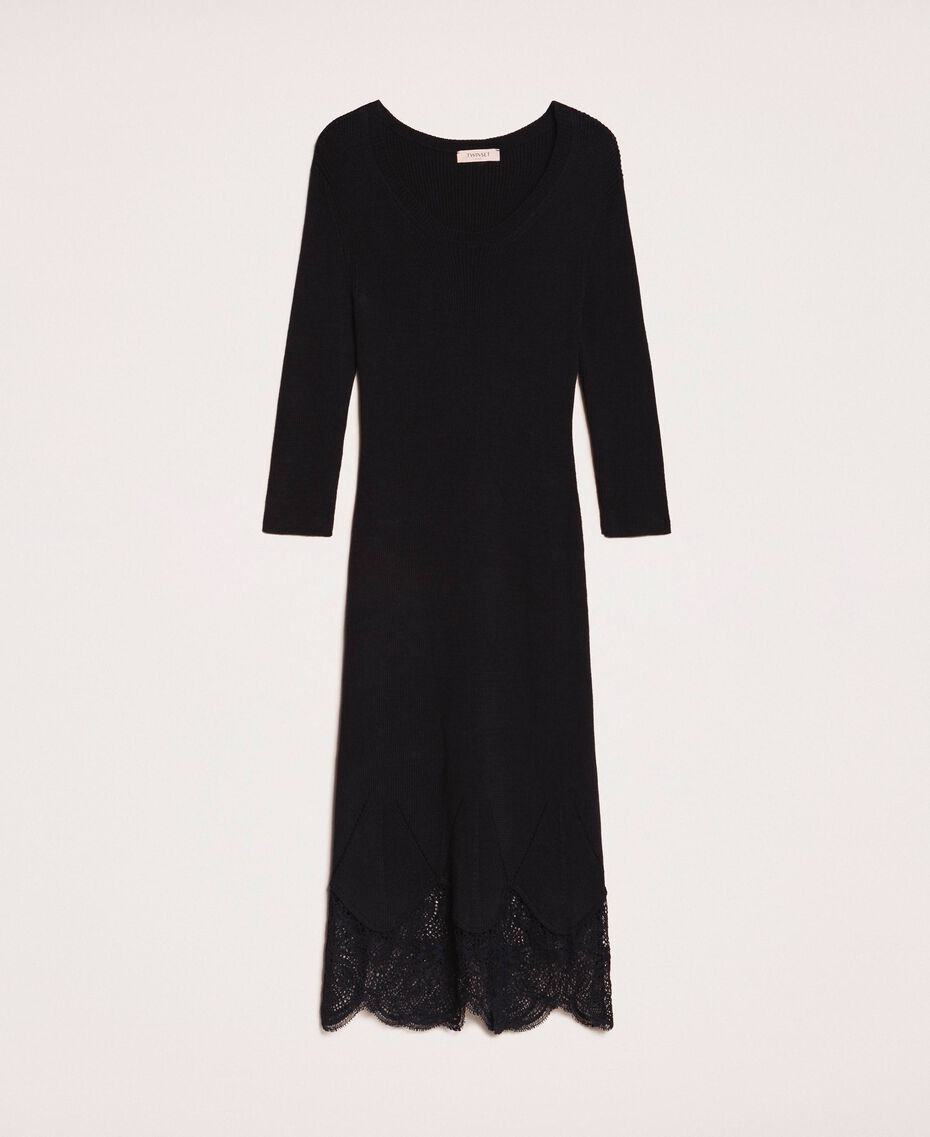 Ribbed sheath dress with lace Black Woman 201TP3120-0S