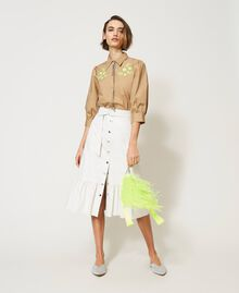 """Poplin shirt with high-vis embroideries """"Biscuit"""" Brown Woman 211MT2093-0T"""