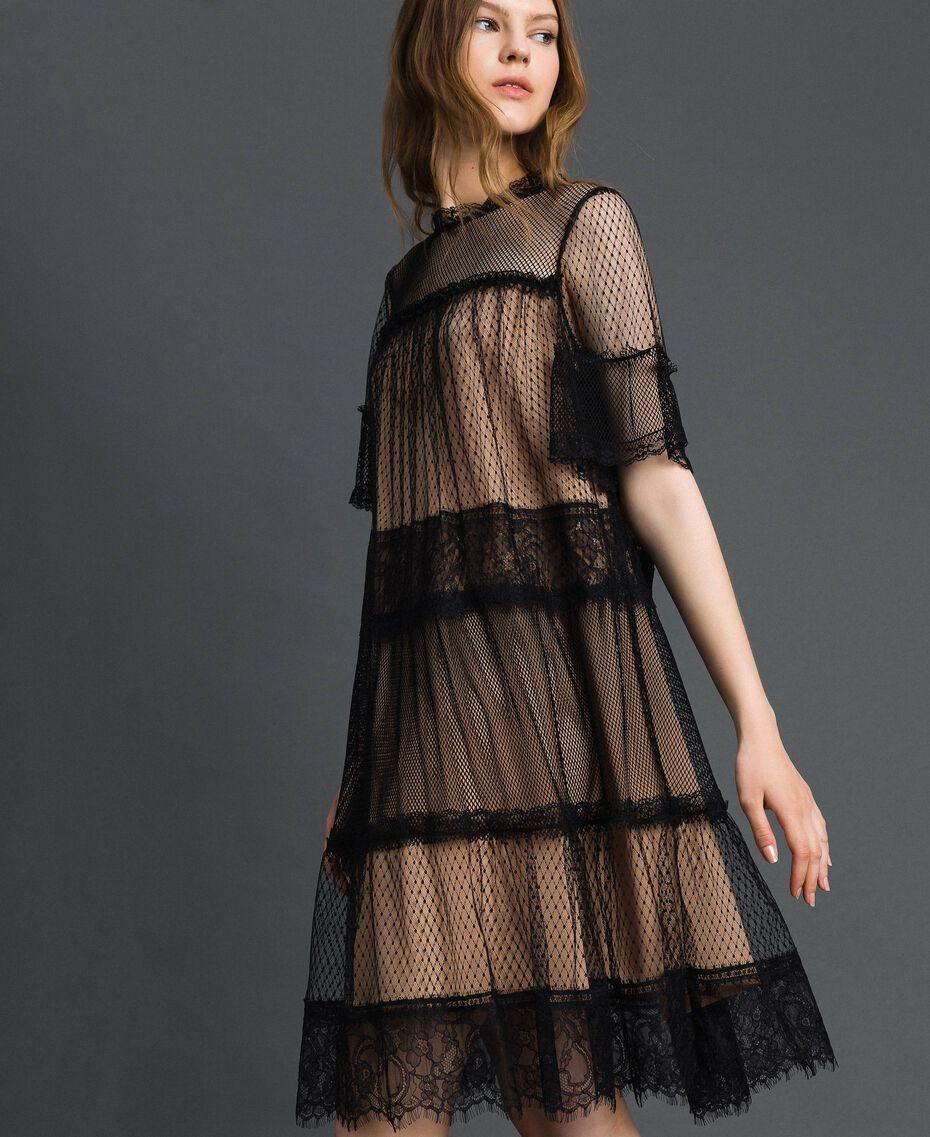 Robe en tulle, dentelle de Valenciennes et plumetis Bicolore Noir / Nude Femme 192TP2331-02
