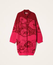 Floral jacquard knit coat Shocking Pink / Cherry Red Jacquard Woman 202TP340A-0S