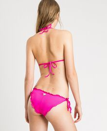 "Triangle bikini top with rhinestones and ruffles ""Psychedelic Pink"" Fuchsia Woman 191LBMHTT-03"