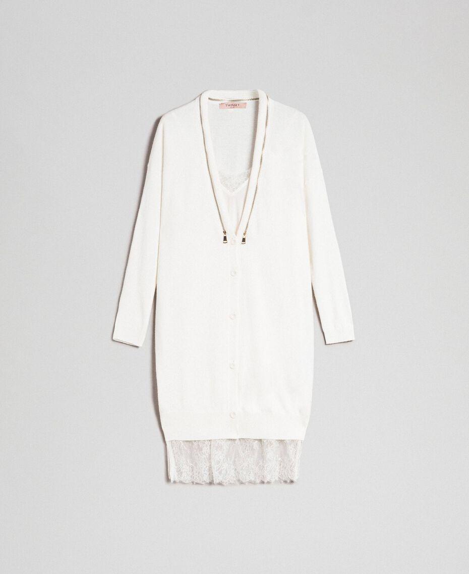 Maxi cardigan en cachemire mélangé avec fond de robe Blanc Neige Femme 192TT3092-0S