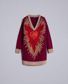 Jacquard wool blend dress Bordeaux Woman PA83HQ-0S