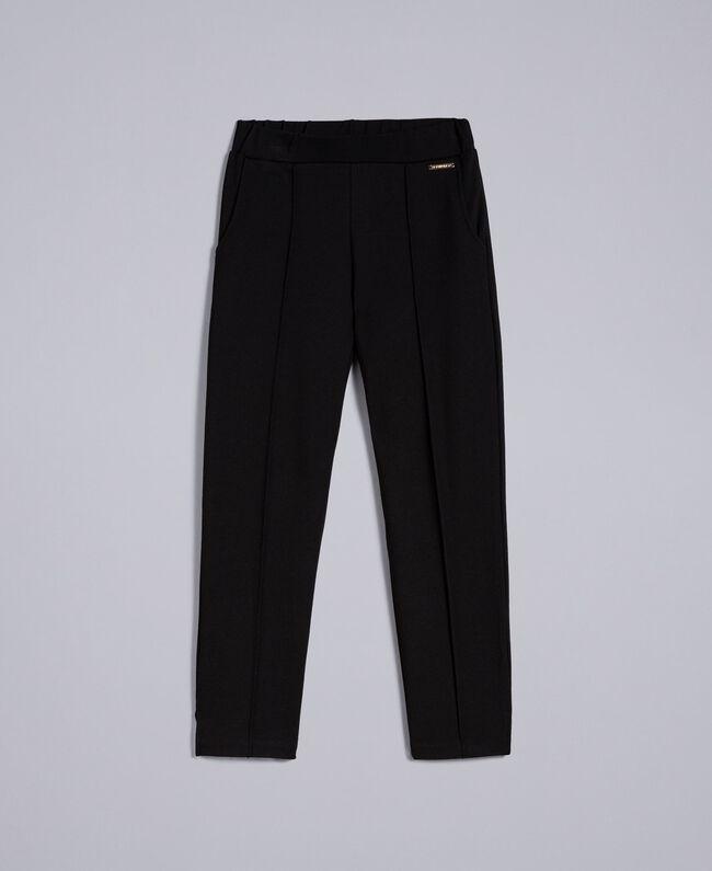Pantalon en point de Milan Noir Enfant GA82F1-01