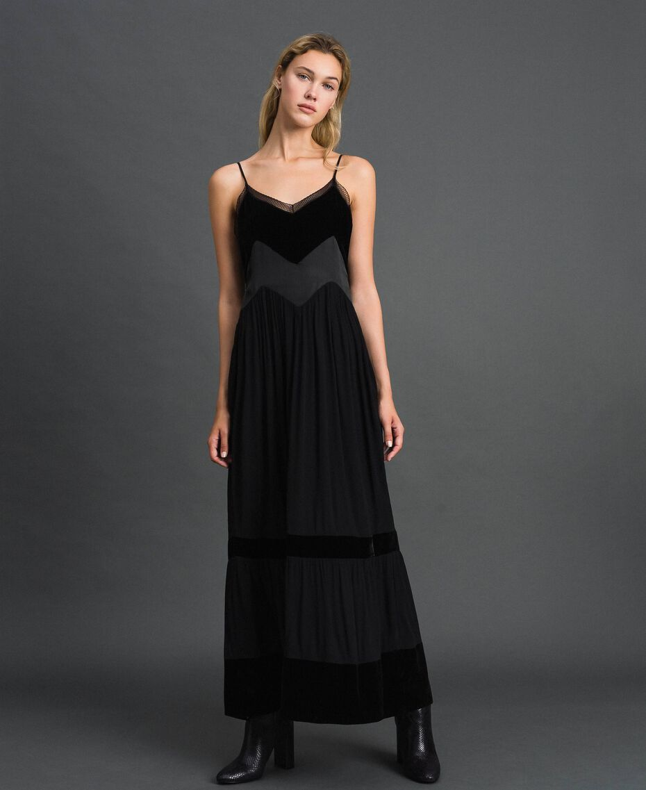 Slip dress with velvet details Black Woman 192TT2280-02