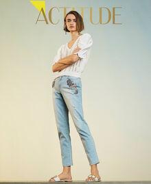 Boyfriend-Jeans mit Stick-Applikation Denim hell Frau 211MT2640-01