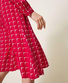 "Crêpe de Chine shirt dress with bow ""Cerise"" Fuchsia /""Dew"" White Optical Print Woman 202ST2502-06"