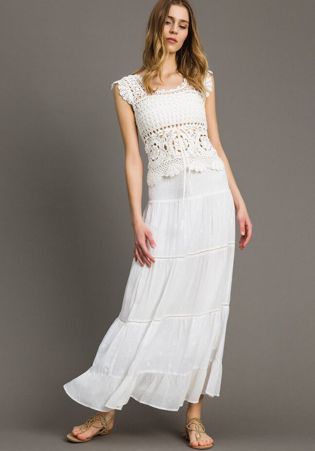 Robe-jupe avec broderie anglaise
