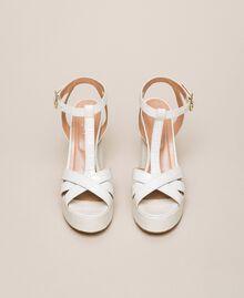 "Leather T-bar sandals ""Snow"" White Crocodile Print Woman 201TCP072-05"
