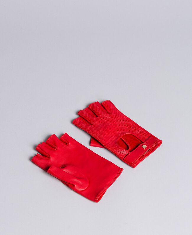 Handschuhe aus perforiertem Leder Rot Mohn Frau VA8P4N-01