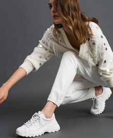 Scarpe running in pelle laminata con perle Bianco Donna 192TCP066-0S