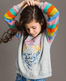 Cotton knitted striped sweatshirt Melange Grey / Multicolour Striping Child 191GJ2451-04