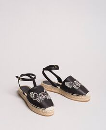 Leather espadrilles with jewelry butterfly Black Woman 191TCP10A-02