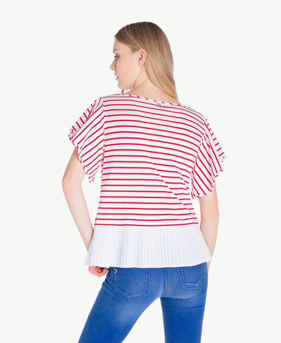 T-Shirt mit Streifen Streifen Optisches Weiß / Hochrot Frau JS82RG-03