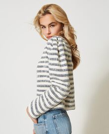 "Striped bouclé jacket ""Ivory Mat"" Grey / Blue Light Stripe Woman 211TT2051-03"